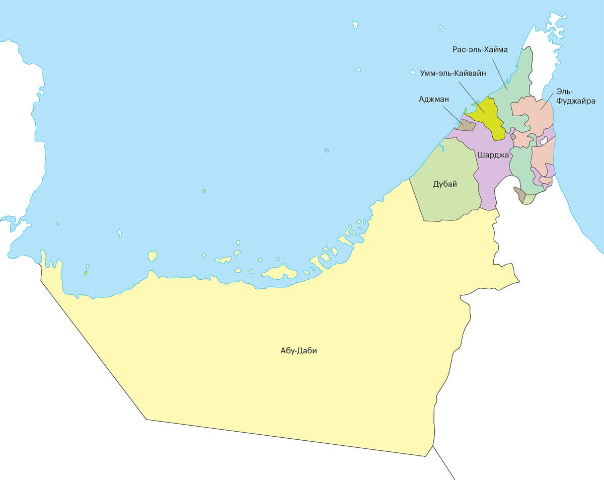 Карта ОАЭ. Самый большой эмират — Абу-Даби, тут же расположена столица