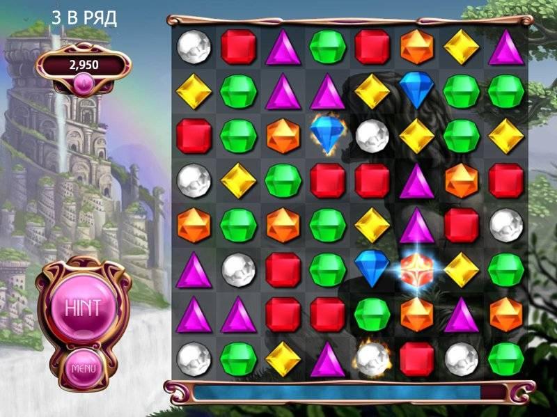 Типичная игра «три в ряд» — нужно сделать так, чтобы одинаковые камни образовали линию из трех и больше. Источник: min2win.ru
