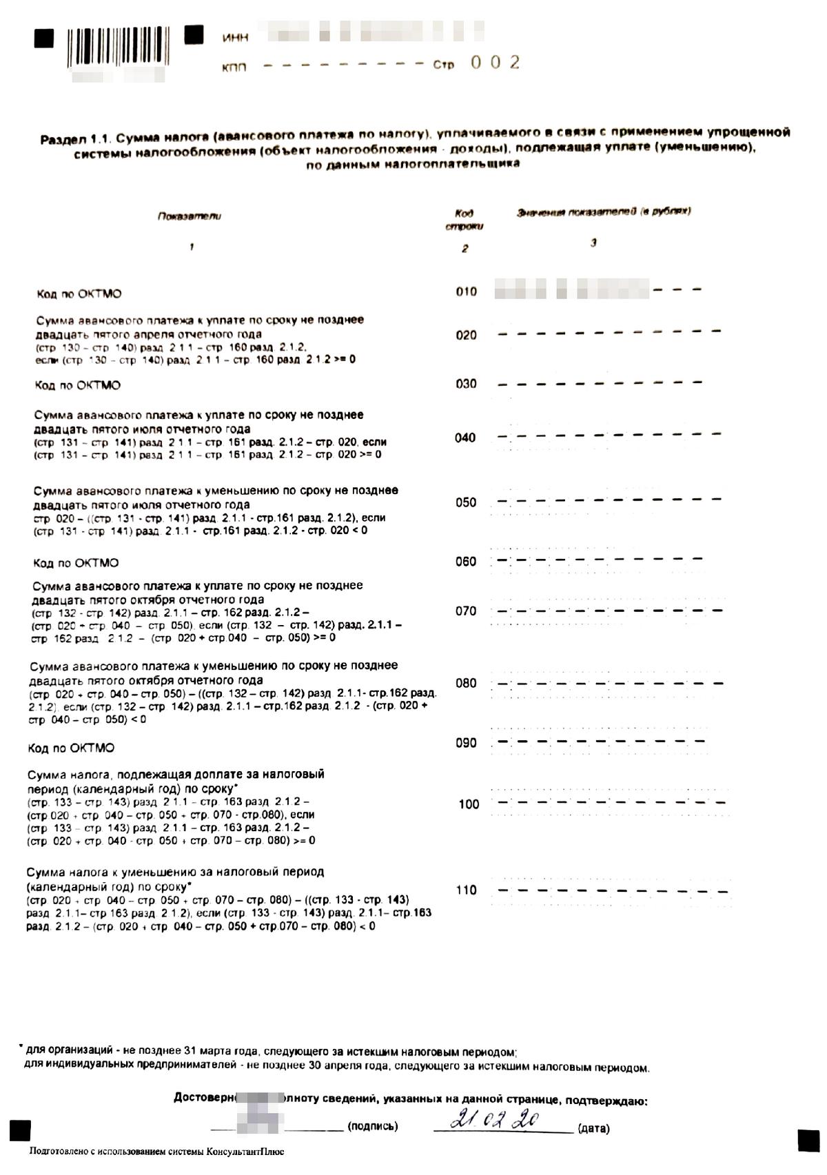 Второй лист нулевой декларации для УСН «Доходы». Во всех полях нулевого отчета, которые остались незаполненными, нужно поставить прочерки