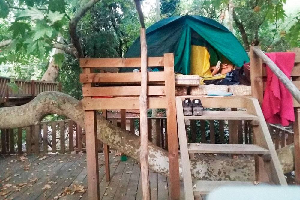 Днем на этом помосте обедали, а на ночь ставили палатку