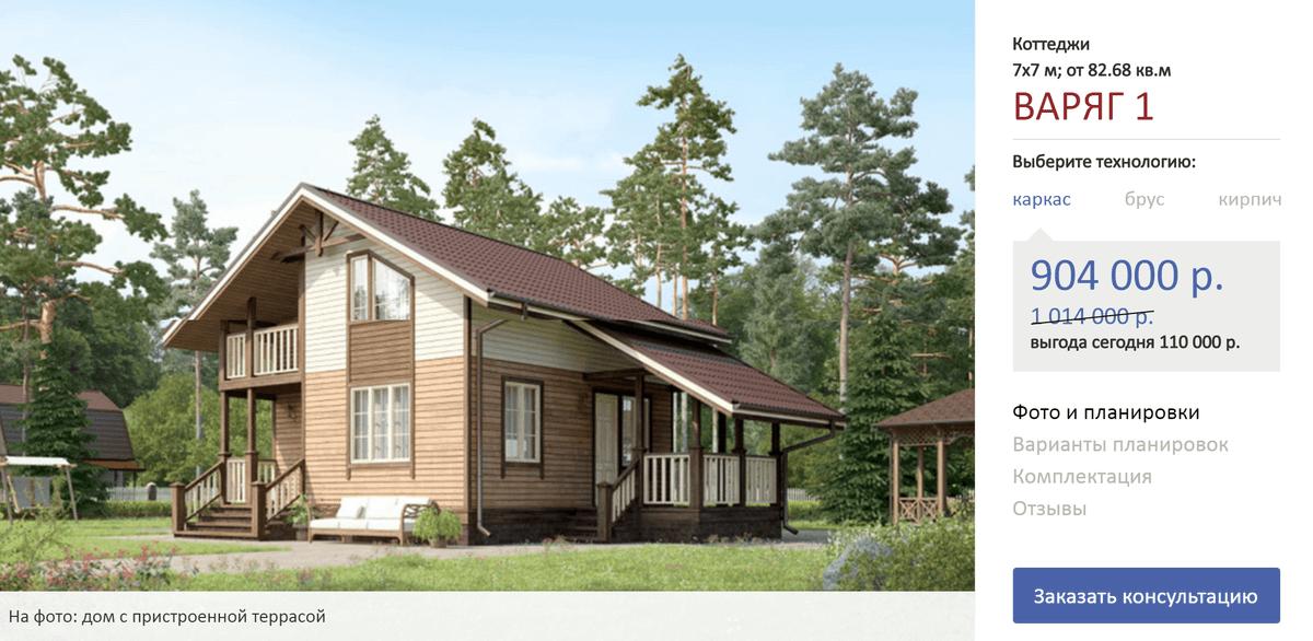 Минимальный вариант дома размером 7 × 7 м. Источник: сайт terem-pro.ru