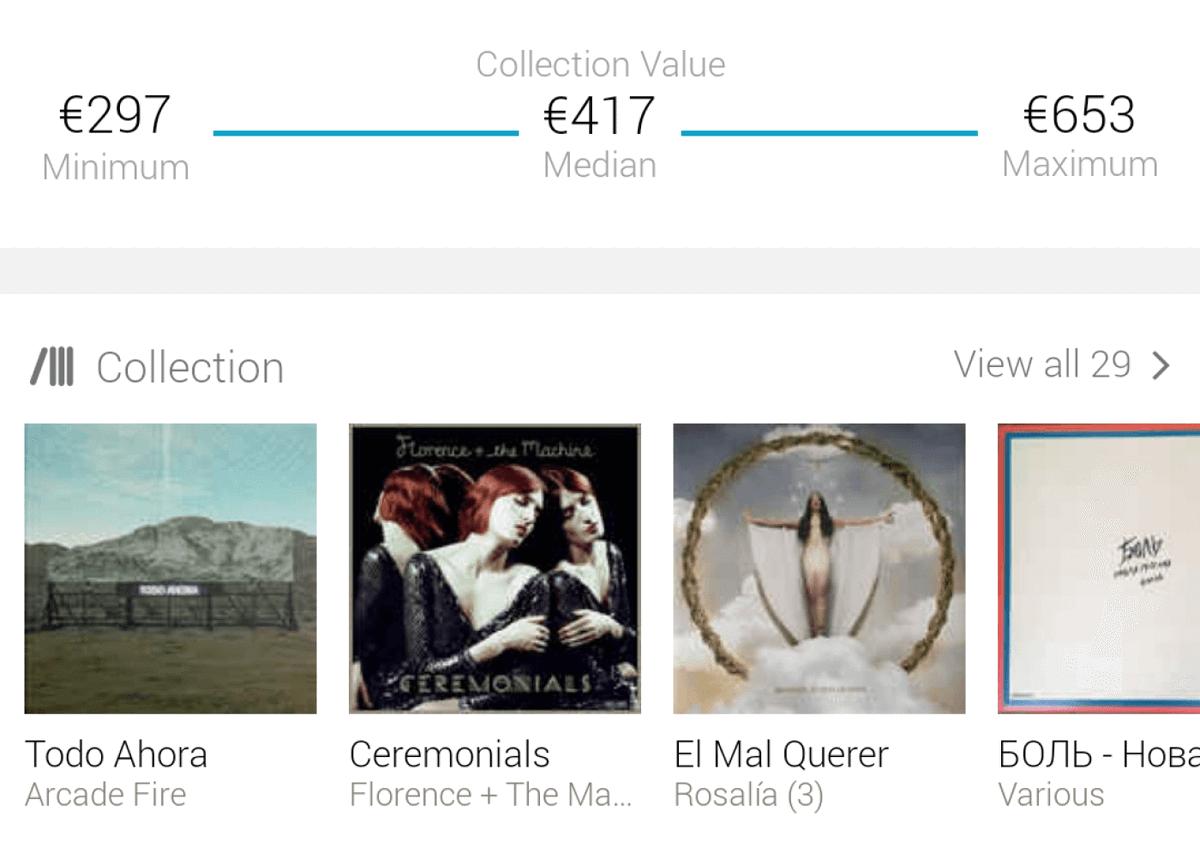 Моя небольшая коллекция из 29 пластинок оценивается сервисом Discogs в 297—653€