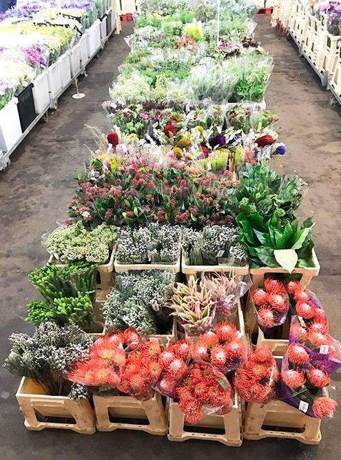 Так выглядит цветочная база — огромное помещение сбаками цветов. Температуру впомещении постоянно поддерживают науровне 4—5 °C
