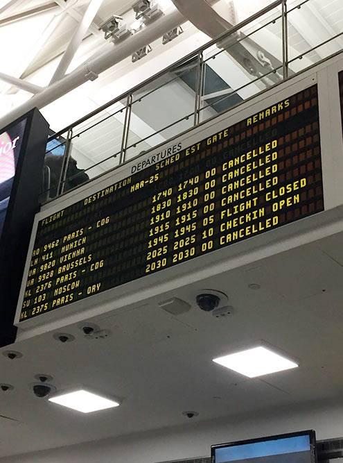 Рейсы отменялись повсем направлениям, кроме России