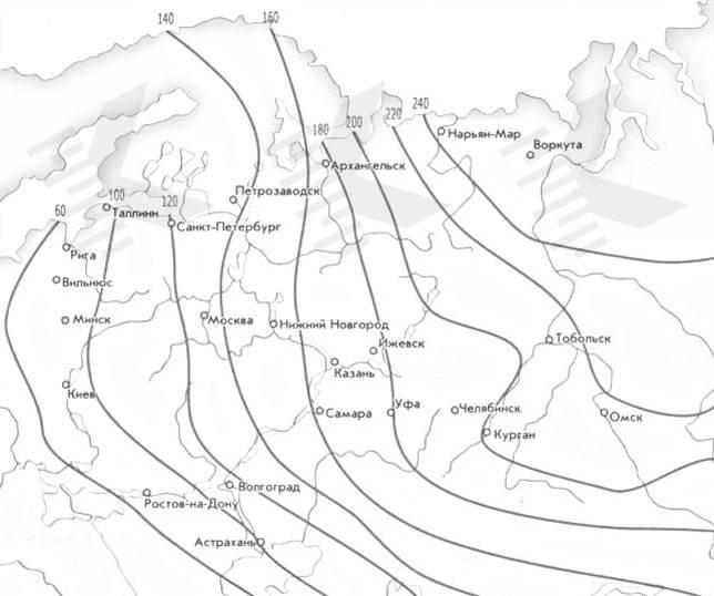 Карта глубины промерзания грунтов. Источник: «Калк-про»