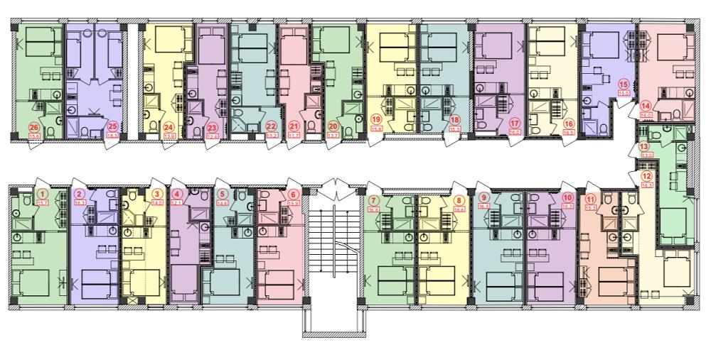 26 апартаментов вытянутой формы искромной площади. Новкаждом есть все необходимое длякомфортной жизни