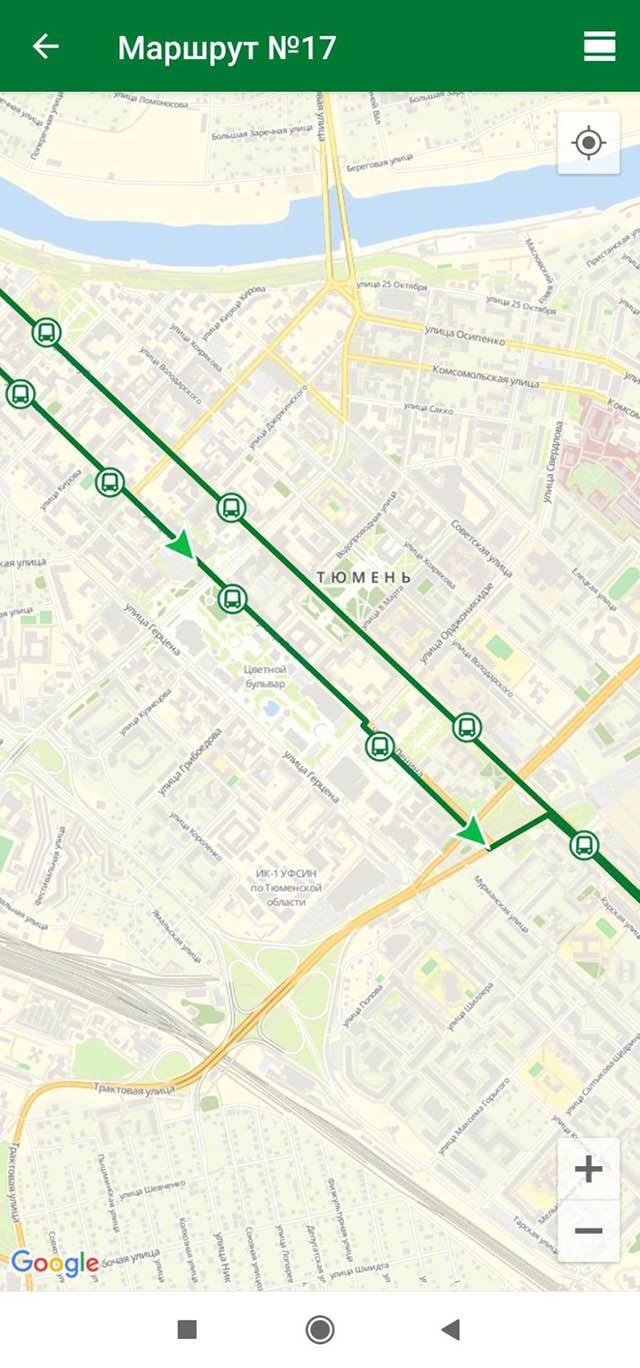 Так выглядит приложение «Тюменский транспорт» дляАндроида