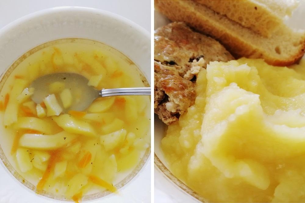 Я не кулинар и не могу сказать, чем именно кормили. В рационе точно были нежирные супы и паровые котлеты