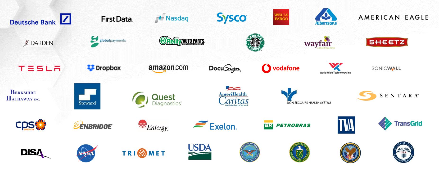 Логотипы некоторых клиентов Tenable. Источник: презентация компании, слайд 13