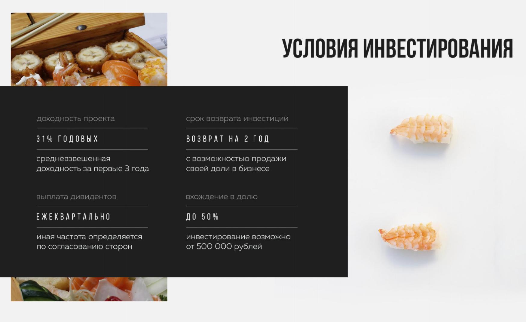 Возврат инвестиций в «Суши-мастере» планируется на второй год, порог входа — 500тысяч рублей
