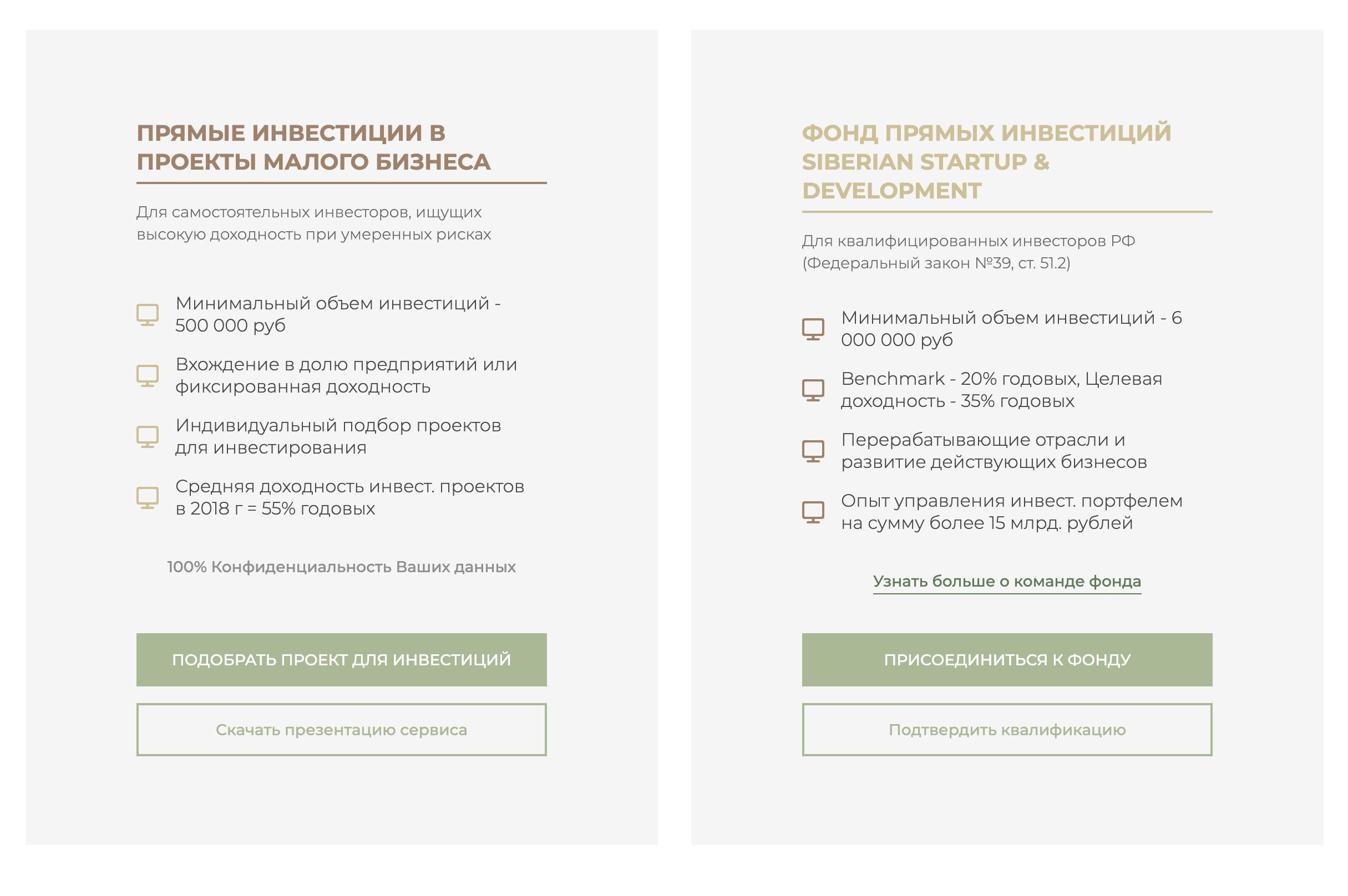 I. F. Russia предлагает инвестировать в малый бизнес и в собственный фонд прямых инвестиций