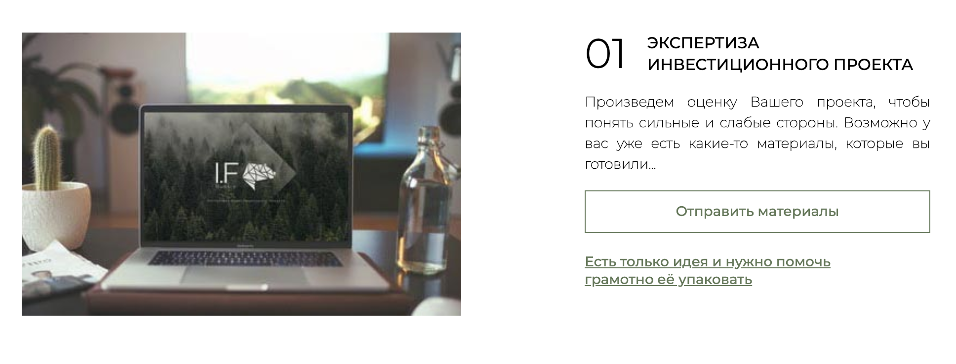 I. F. Russia пишет, что поможет с упаковкой проекта, даже если это только идея