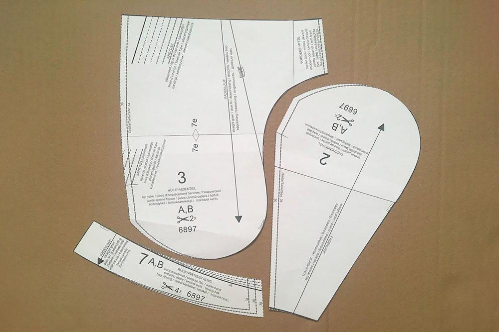 Детали мешковины кармана. Если выкроить их на ткани и сшить, получится карман длямоих шорт