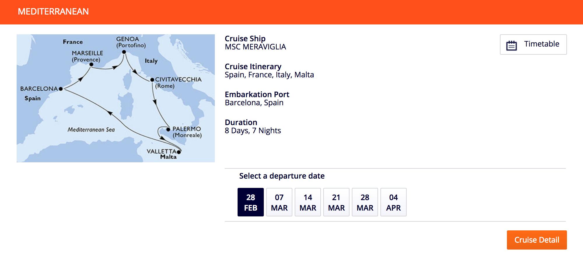Стандартный круг по Средиземному морю можно начать из любого порта. Если корабль идет по часовой стрелке, из кают по левому борту видно побережье. В такие круизы ходят лайнеры компаний «Коста», MSC, «Аида». Дорогие компании предлагают более долгие некруговые круизы
