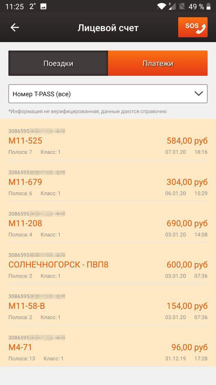 В истории списаний указываются все платные трассы и пункты оплаты всех операторов. Например, самая нижняя строчка — это плата за проезд по трассе М4. А пункт «Солнечногорск — ПВП-8» — это плата за проезд по участку, которым владеет другой оператор