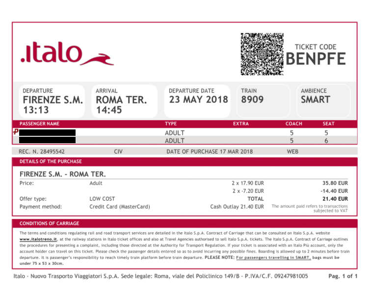 Два билета Милан — Венеция стоили 22,2€ (1670 р.). Электронный билет не нужно распечатывать — достаточно показать его контролеру на смартфоне