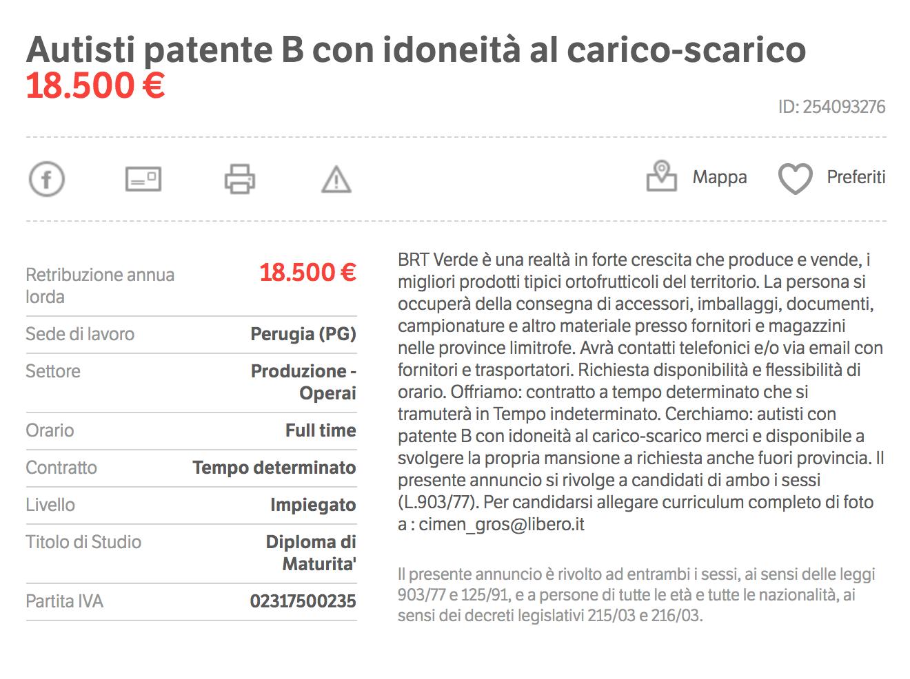 Водитель-грузчик получает 1500€ (117 000 р.). Источник: Subito.it