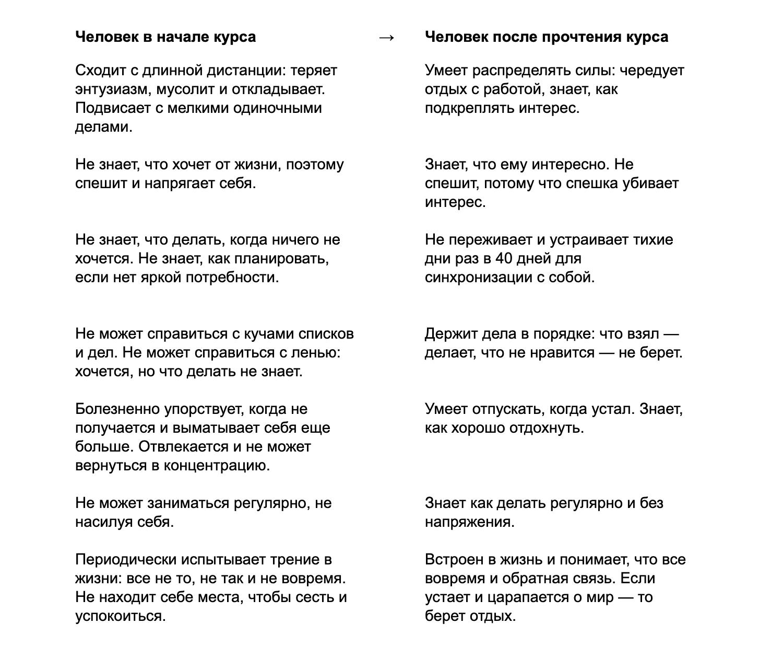 Сергей предложил написать структуру курса исходя из предположений, с какими запросами приходят читатели и к чему хотят прийти в итоге