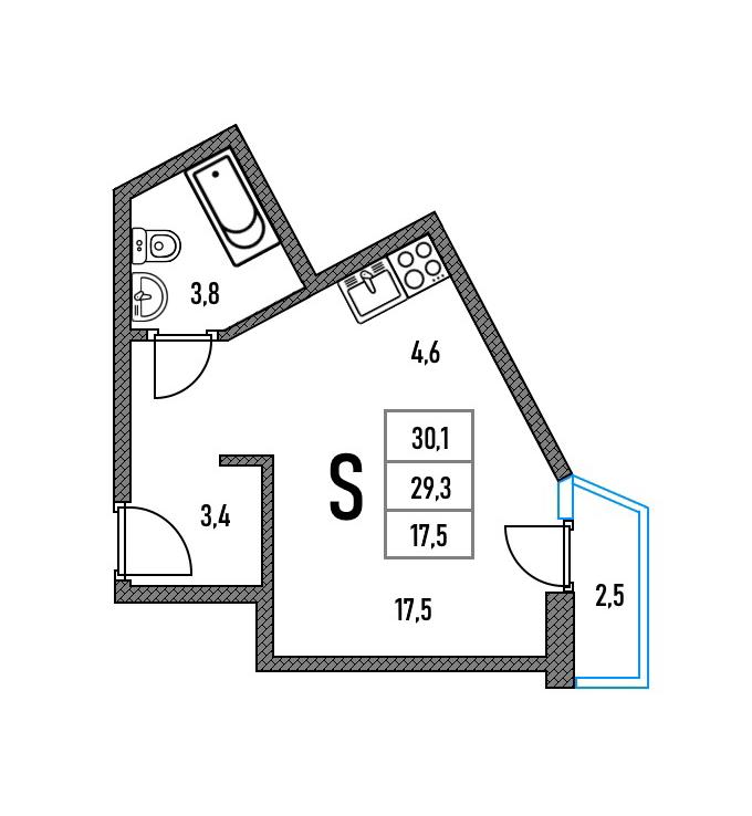 В планировках с углами меньше или больше 90 градусов ставят диван посередине комнаты, заказывают радиусный полукруглый шкаф или делают зонирование с помощью подиума и конструкций из гипсокартона