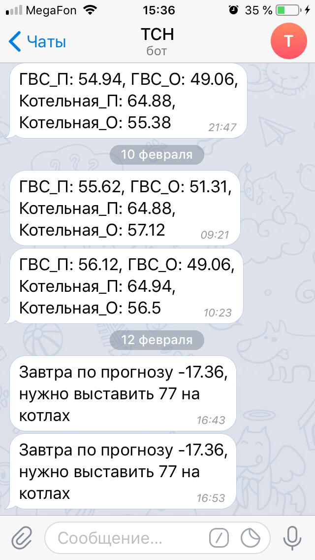 Оповещения о падении температур в котельной, которые приходят мне в Телеграм