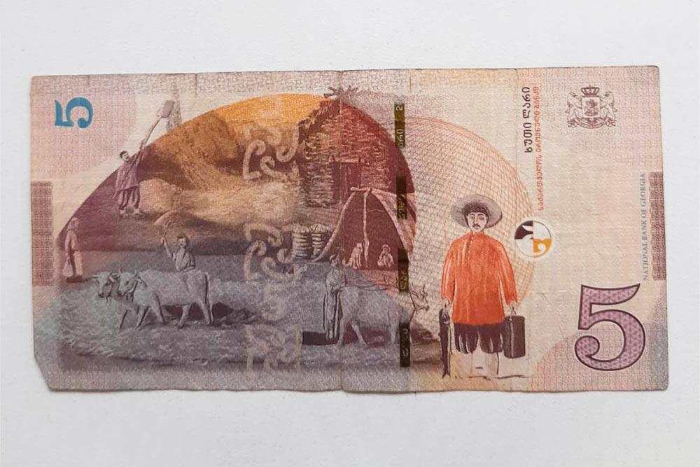 Так выглядят грузинские деньги — 5 GEL (120 рублей)