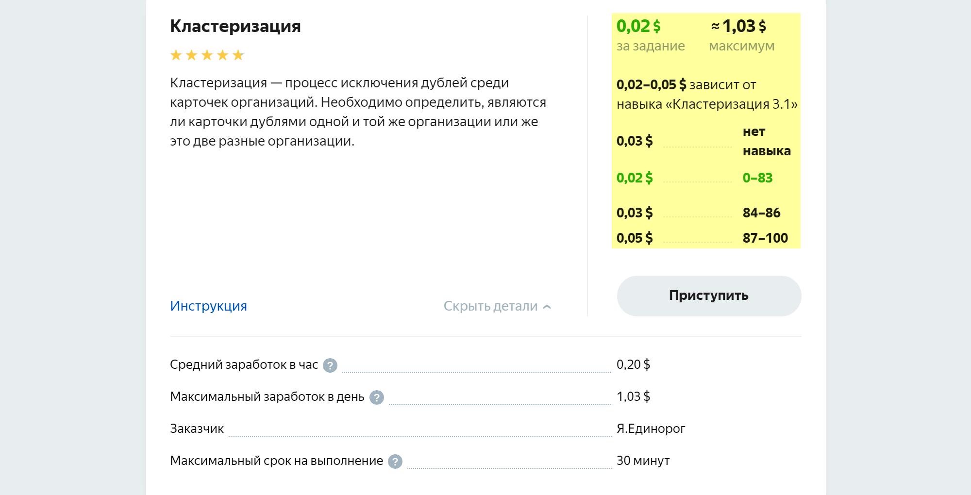 За кластеризацию платят в среднем 20 центов в час (12,6 рублей). Ее заказывает «Яндекс-единорог» — сервис, который занимается данными об организациях, а вовсе не радугами