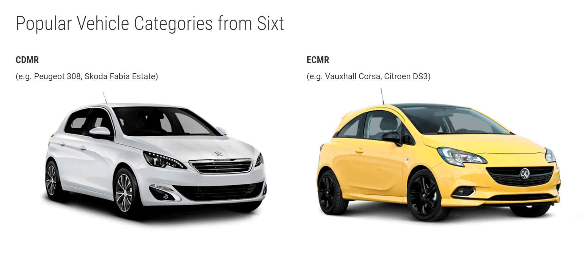 Классы авто и примеры автомобилей в них от «Сикста»