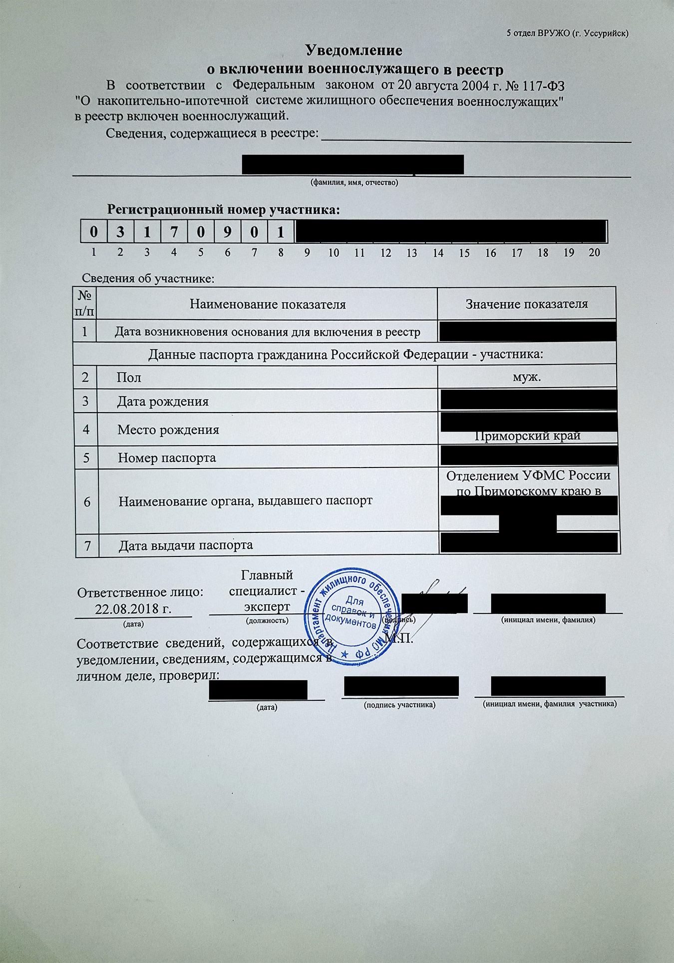Эта бумага сообщает, что я участник военной ипотеки