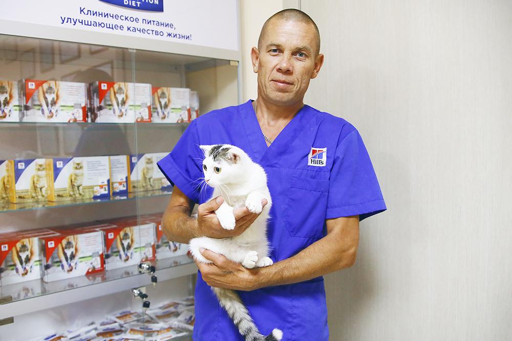Кошка Катя на руках у Сергея. Волонтеры выкупили четырех больных котят у бомжей в переходе за 1000 рублей. Ветеринары вылечили всех. Троим нашли хозяев, а одну оставили себе