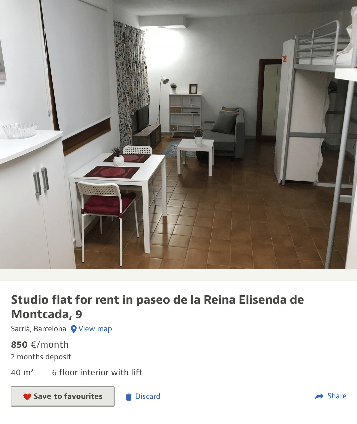 Студия 40 м² сдается за 850€ в месяц