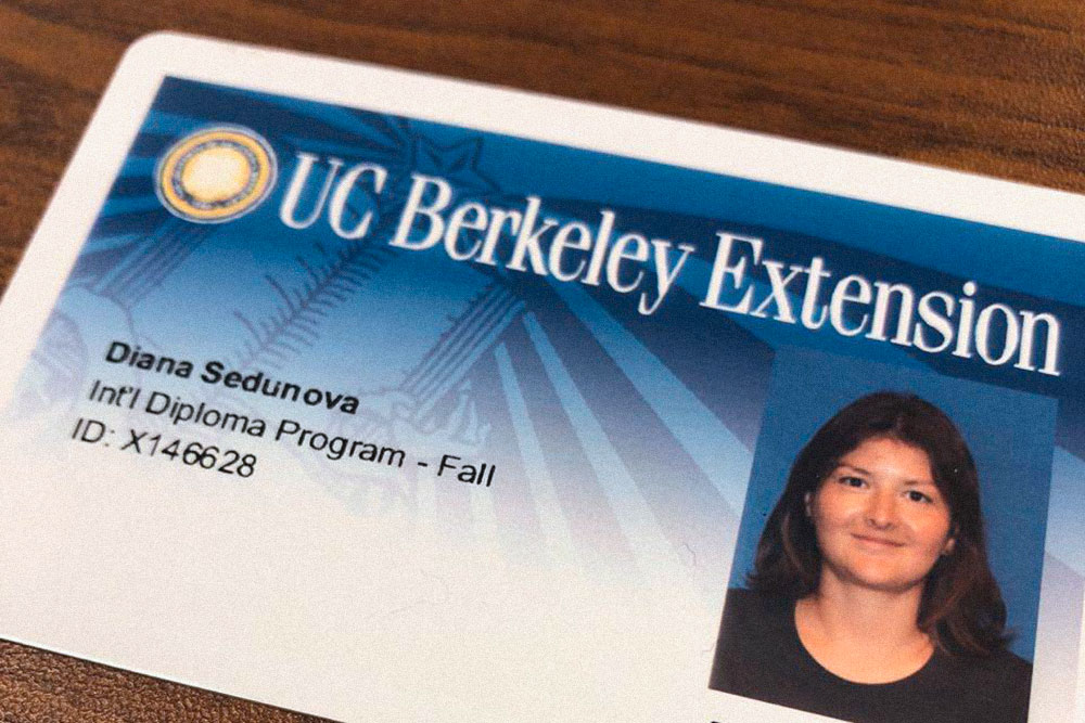 Моя карточка студента UC Berkeley Extension