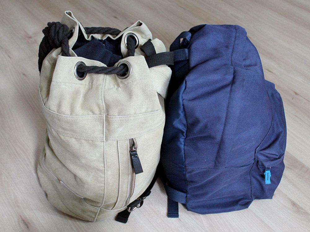 В путешествие взяли обычные повседневные рюкзаки