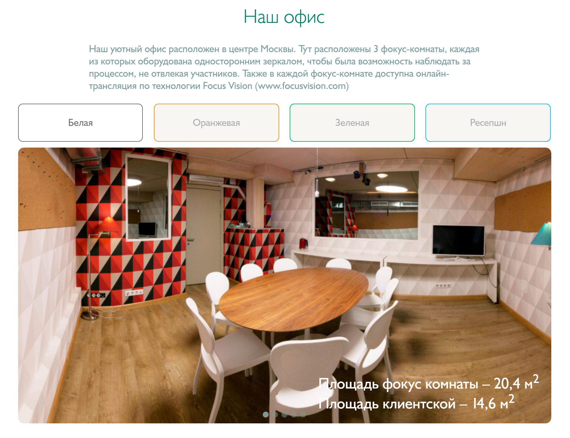 Офис исследовательской компании Validata. Клиентская комната — смежный кабинет с местами длянаблюдателей. С этой стороны зеркало прозрачное