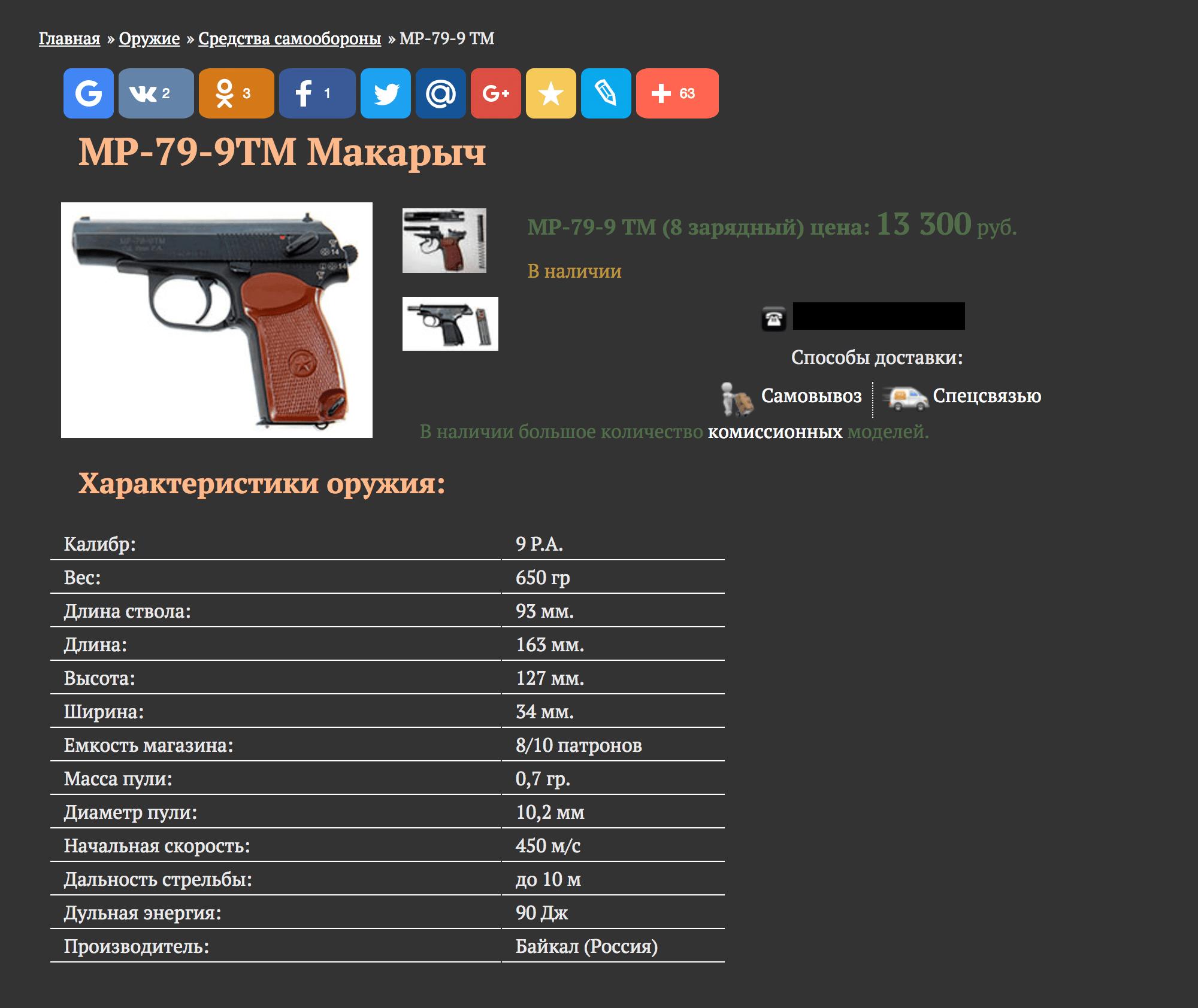 Мой пистолет в интернет-магазине стоит 13 300 р.