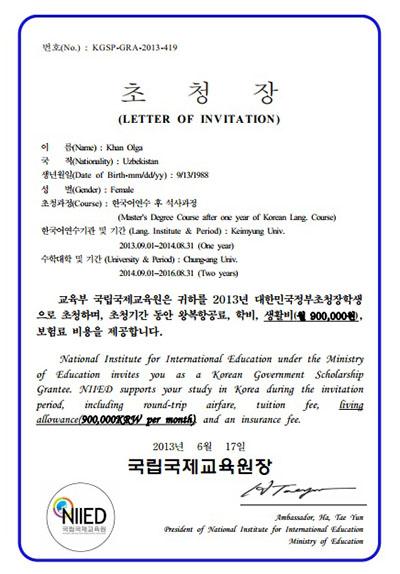 Письмо-приглашение на учебу в магистратуре