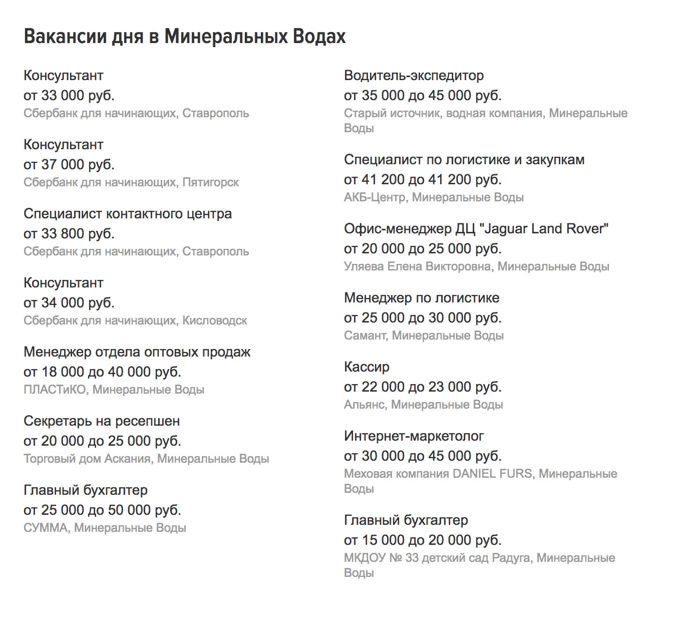 Вакансии в Минеральных Водах в январе 2019 года. Преподаватель английского получает от 20 до 30 тысяч рублей, заведующий гаражом — от 30 до 46 тысяч