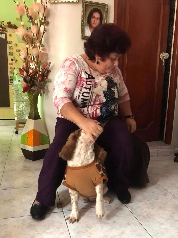 Наша хозяйка с собакой Кассандрой. Сесилия следила за порядком в доме, была гостеприимна и вкусно готовила