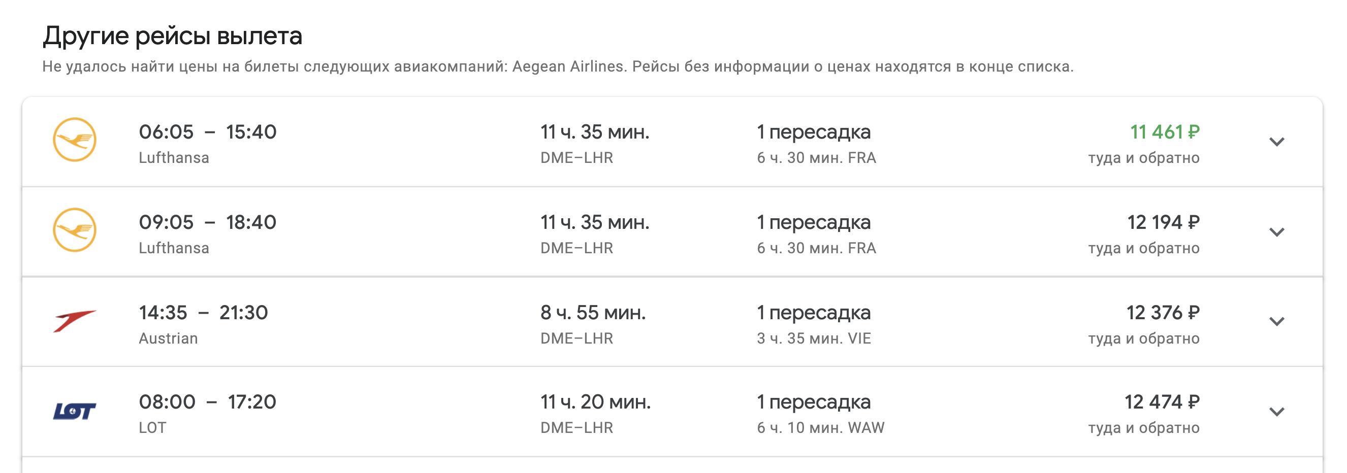 В 2019 году билеты Москва — Лондон с одной пересадкой стоят в районе 11—12 тысяч рублей, а прямой — от 20 тысяч