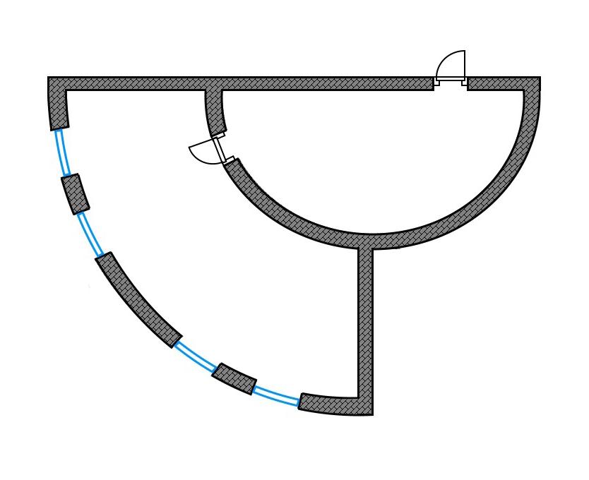 Пример планировки элитной студии полукруглой формы. На первый взгляд кажется, что неудобно расставлять мебель в квартире с полукруглыми стенами. Но дизайнеры создают практичный интерьер даже в такой планировке. Зонирование делают не только с помощью стен и передвижных конструкций, но и расставляя определенным образом мебель