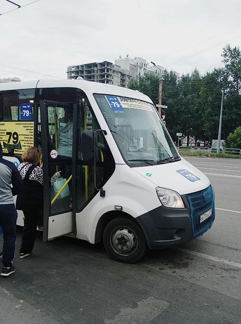 Сбоку наклейка «экскурсионный», а в синем квадрате — «Инв. № 79». Так делают те перевозчики, которым не выдали лицензию на пассажирские перевозки