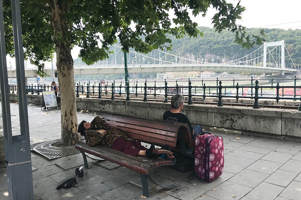 Эти люди расположились в одном из самых популярных туристических мест — на широкой прогулочной улице возле набережной