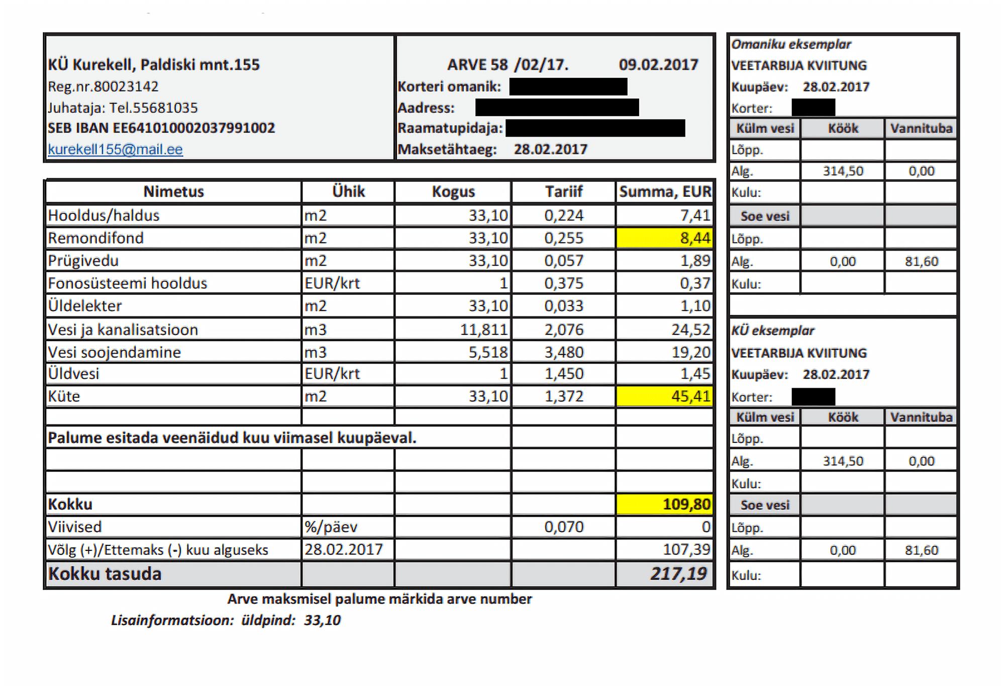 «Зимняя» квитанция за квартиру площадью 33,1 м² в частично реновированном панельном доме, класс энергоэффективности E. Общая сумма — 109,80€ (6800 р. по курсу 2017 года), в том числе 45,41€ за отопление и 8,44€ за ремонтный фонд. В летние месяцы за отопление не платят