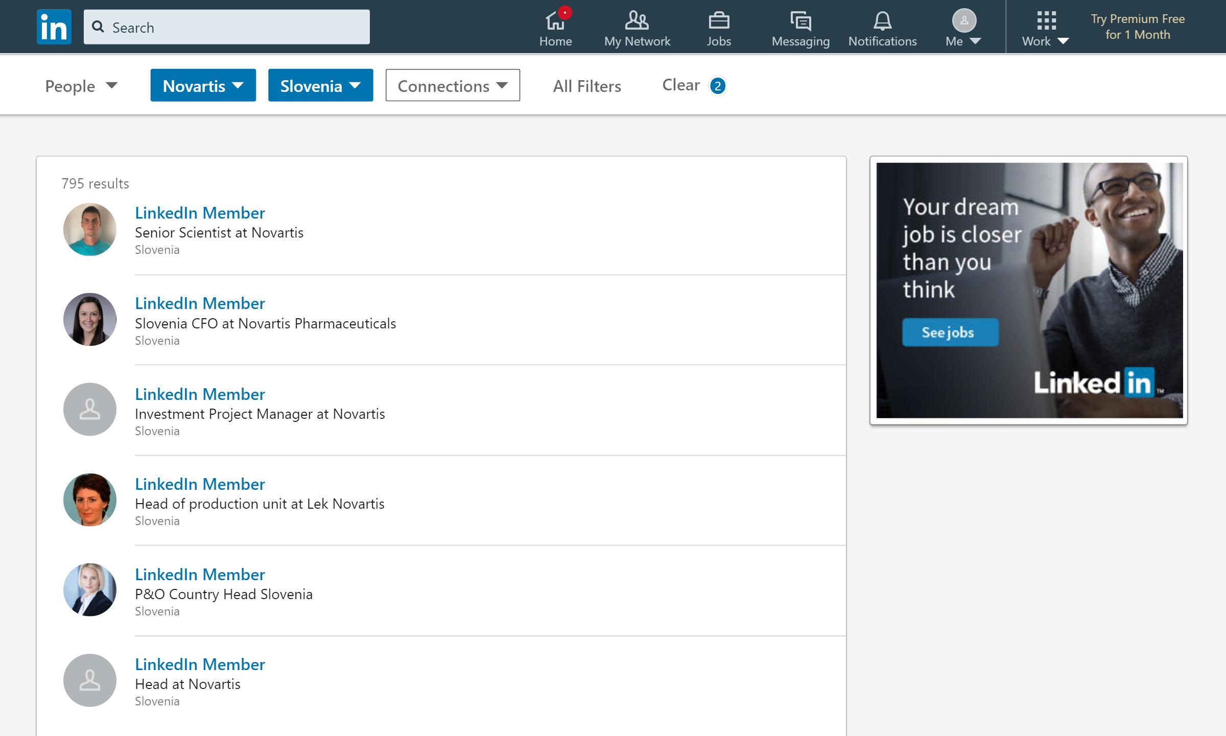 «Линкед-ин» покажет всех работников компании, а вы с помощью фильтров сможете выбрать тех, кто вам интересен. Иногда имя и фамилия не отображаются, и войти в профиль человека невозможно. Это значит, что пользователь находится за третьим кругом контактов или скрыл профиль настройками приватности