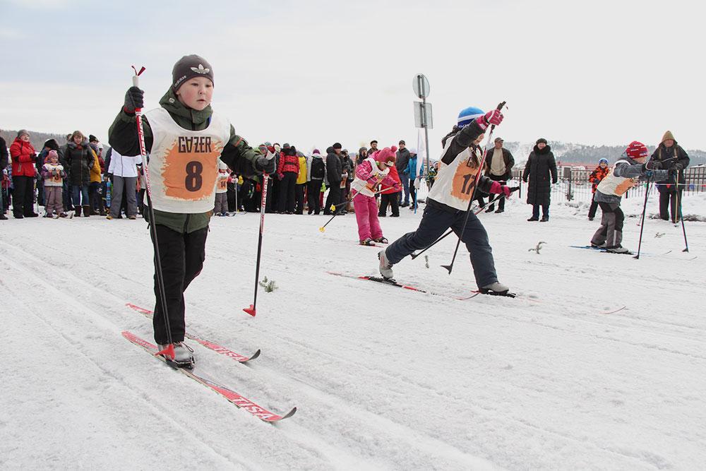 Дошкольники на лыжне