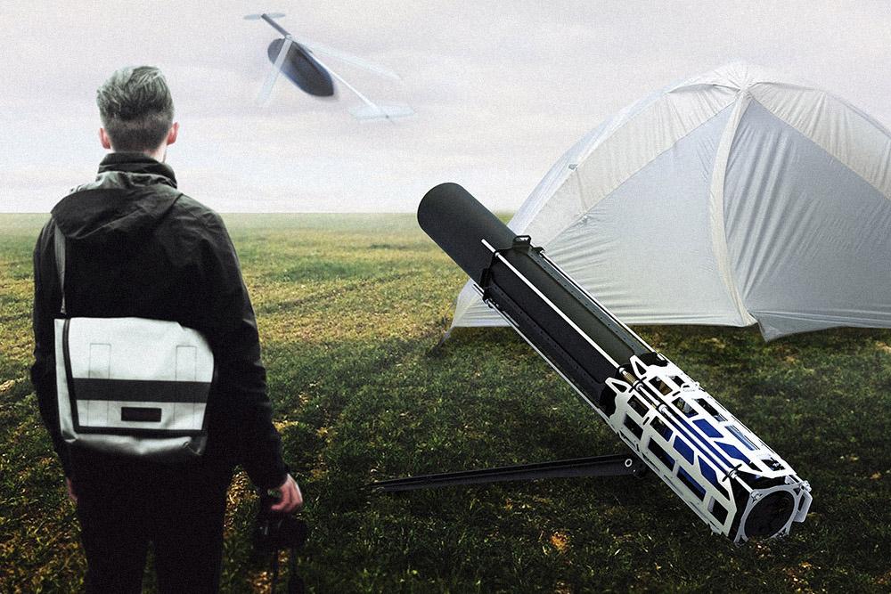 Пневматическая пушка длязапуска беспилотников. Летательные аппараты сраскладывающимися крыльями весом 2кг необходимо поднять навысоту 10метров ипридать начальную скорость длясоздания подъемной силы