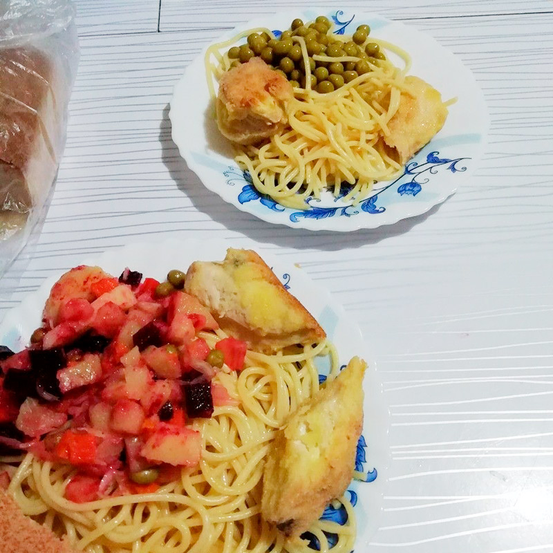 Поужинали спагетти