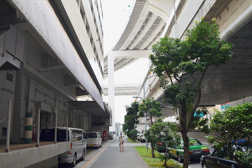 Обычная токийская улица, а над ней — еще три уровня автострады