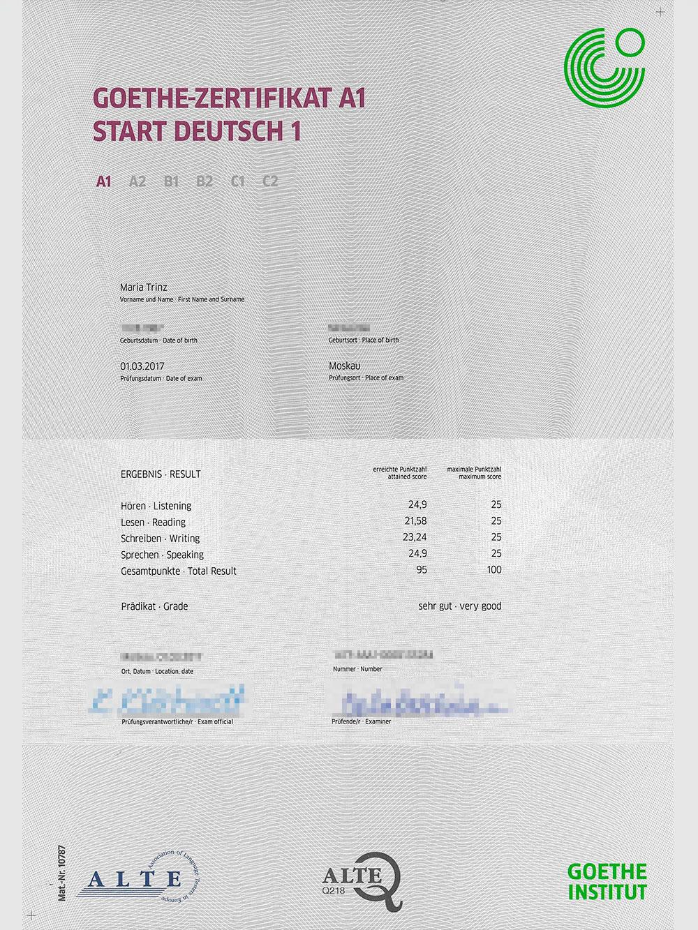 Сертификат о сдаче экзамена на уровень A1