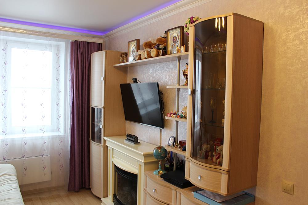 Жилая комната площадью 15 м² в однокомнатной квартире