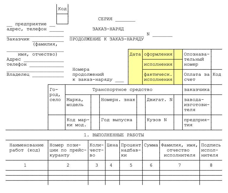 Сроки, перечень работ и информацию о заказчике и исполнителе указывают на лицевой стороне заказ-наряда